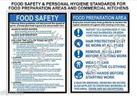 HEALTH SAFETY 2 A4 LAMINATED COMMERCIAL KITCHEN SIGNS  FOOD  & PERSONAL HYGIENE