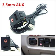 Professional Car 3.5mm USB AUX Headphone Male Jack Flush Mount Adapter Panel Kit