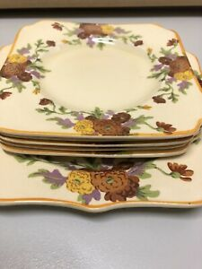 Vintage English 1930's Royal Doulton Marigold Art Deco Square Cake Plate Set