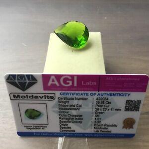 Moldavite Green Czech R. 35,85 CT mit Zertifikat