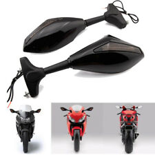 Dual Integrated Turn Signal Light Rearview Mirrors For Yamaha YZF R6S 2006-2009