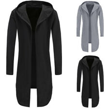 UK STOCK Men's Longline Hoodies Trench Coat Jacket Hoody Cardigan Capes Outwear
