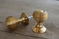 Pair of classi solid brass Victorian style beehive door knobs knob handle B1