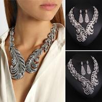 Fashion Rhinestone Jewelry Set Statement Necklace Earring Choker Collar Bib Lady