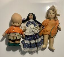 Lot Vintage Hand Painted Faces Cloth Bodies Stuffed Dolls
