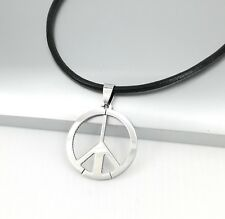 SILVER Woodstock Hippie Hippy Retrò Pace Ciondolo neri in pelle surfista collana