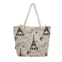 Premium Large Paris Eiffel Vintage Stamps Print Canvas Tote Shoulder Bag Handbag