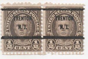 1929 US Scott #653 US Stamp 1/2c Hale Precancel Trenton, NJ Pair