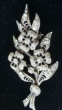 Sterling Silver & Crystal Flower Boquet Pin Brooch- Elegant Vintage