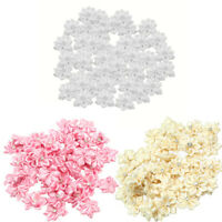 40 Pcs Satin Ribbon Flower Rhinestone Appliques Dress Wedding Party Craft DIY