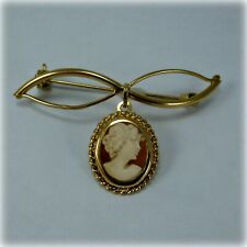 9ct Gold Bar Brooch with Cameo Pendant