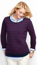 NWT Lands End Breton Sweatshirt Classic Navy Stripe Size M 10 -12