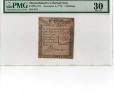 1779 Paul Revere Note Massachusetts Colonial Currency Ma-272 Pmg 30