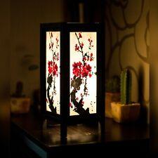 Asian/Thai Paper Bedside Table Lamp Sakura Brush Japanese Plum Blossom +LED bulb