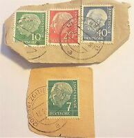 4 Vintage GERMANY STAMPS: Deutsche Bundespost 7pf, 10, 20, 40, (1954) LOT Euro