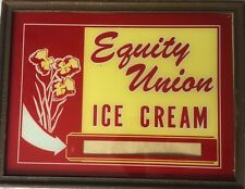 Vintage Antique Equity Union Ice Cream  Advertising Sign Reverse Paint Glass