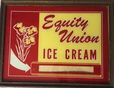 Vintage Antique Equity Union Ice Cream  Advertising Sign Reverse Paint Rare