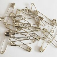 "Silver Safety Pins Size 2 ( 1 1/2"" or 38mm )  Made in USA Pack / 100"