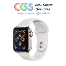 Apple Watch Series 4 40mm Silver Stainless Steel White Sport Band Cellular A2007