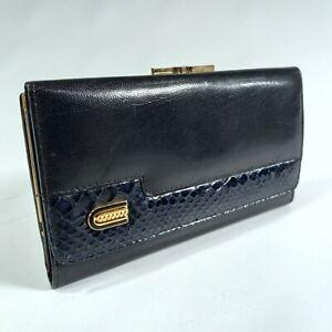 Kisslock Snakeskin Leather Wallet Coin Purse Blue Trifold Vtg