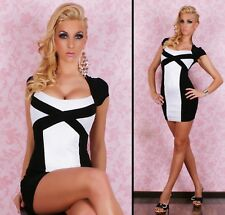 Sexy White Black Cap Sleeve Party Club Formal Race Chic Slim Dress Women Sz 8 10