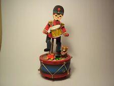 "Vintage 1980 Enesco Drummer Boy Music Box 8 3/4"" high"