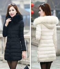 Hot Fashion Winter Women Down Cotton Parka Long Fur Collar Hooded Coat Jacket