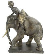 Skulptur Figur Elefant mit Reiter Elephant antik - Kolonialstil Indien Orient