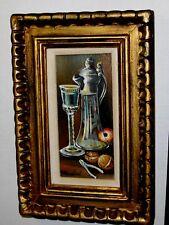 VINTAGE Original P Maubert Oil Painting Glass Apple Walnuts Still Life Dark Room