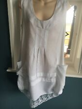 Made In Italy Pretty White Linen Tunic Dress Size L 14-16