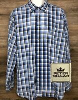 Peter Millar Men's Blue Black Plaid Long Sleeve Button Down Modern Shirt XL