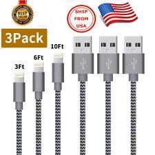 Set de 3 Cables Certificados de Carga Rápida para IPHONE 3 pies+6 pies+10 pies
