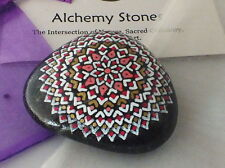 Hand Painted Alchemy Stone w. Gold, White, Red & Pink Complex Star Mandala