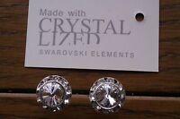 Genuine Swarovski Elements 13mm Clear Crystal Stud Earrings + Gift Bag