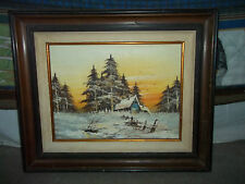 CABIN IN THE WOODS OIL PAINTED - SIGNED AND FRAMED