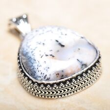 "Handmade Dendritic Tree Natural Agate 925 Sterling Silver Pendant 1.75"" #P13878"