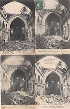 Lot 4 cartes postales anciennes GUERRE 14-18 WW1 MARNE MAURUPT église