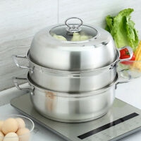 Stainless Steel Steamer Pot Thickened Bottom Two Tier Steamer Soup Pot Cookware