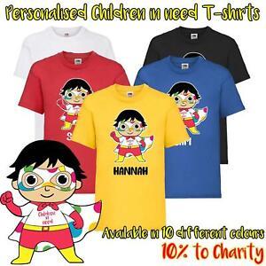 Kids Personalised Children In Need Superhero Ryans World Inspired T-Shirt