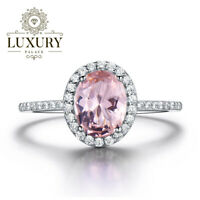 Morganite Gemstone Platinum Plated 925 Sterling Silver Wedding Ring for Women