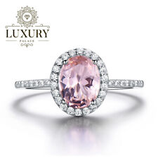 Morganite Gemstone Platinum Plated 925 Sterling Silver Wedding Ring for Women