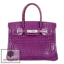DIAMOND BIRKIN 30CM HERMES SHINY POROSUS CROCODILE VIOLET BAG WHITE GOLD GHW