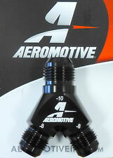 Aeromotive Fuel System 15675 Y-Block Y Fitting  AN -10 In to 2x AN -8 Out  Black