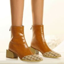 Womens Fashion Checked Two Tone Zipper Block Heel Bootie Ankle Boots Shoes SKGB