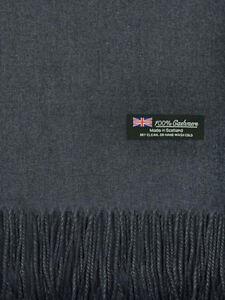 For Womens Blanket 100% Cashmere Big Scarf Shawl Solid Scotland Wool Dark Gray
