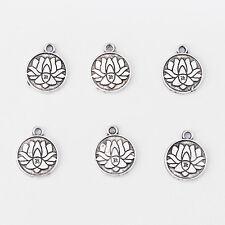 30pcs Antique Silver Tone Alloy Lotus Flower Carved OM Symbol Charms Pendant
