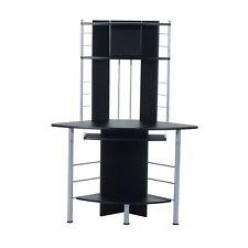 Wooden Corner Computer Desk PC Workstation W/ Keyboard Tray CPU Stand Platform