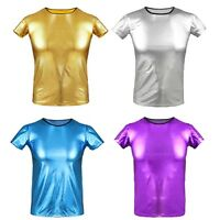 Mens Patent Leather Top Shirt Costume Undershirt WET LOOK Muscle Tank Vest Club