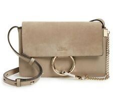 Chloe Faye Small Leather Shoulder Bag Motty Gray Gold