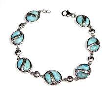 """Genuine AAA Dominican Larimar 925 Sterling Silver Link Bracelet 7.75'' - 8"""""""